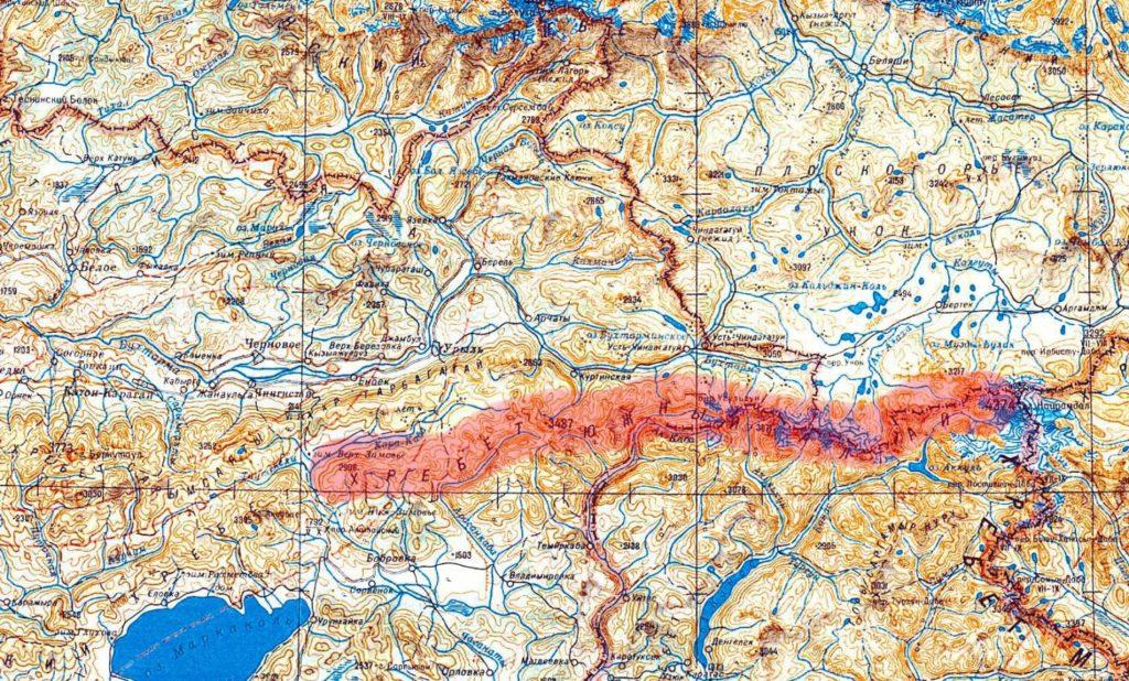 Хребет Южный Алтай на карте.