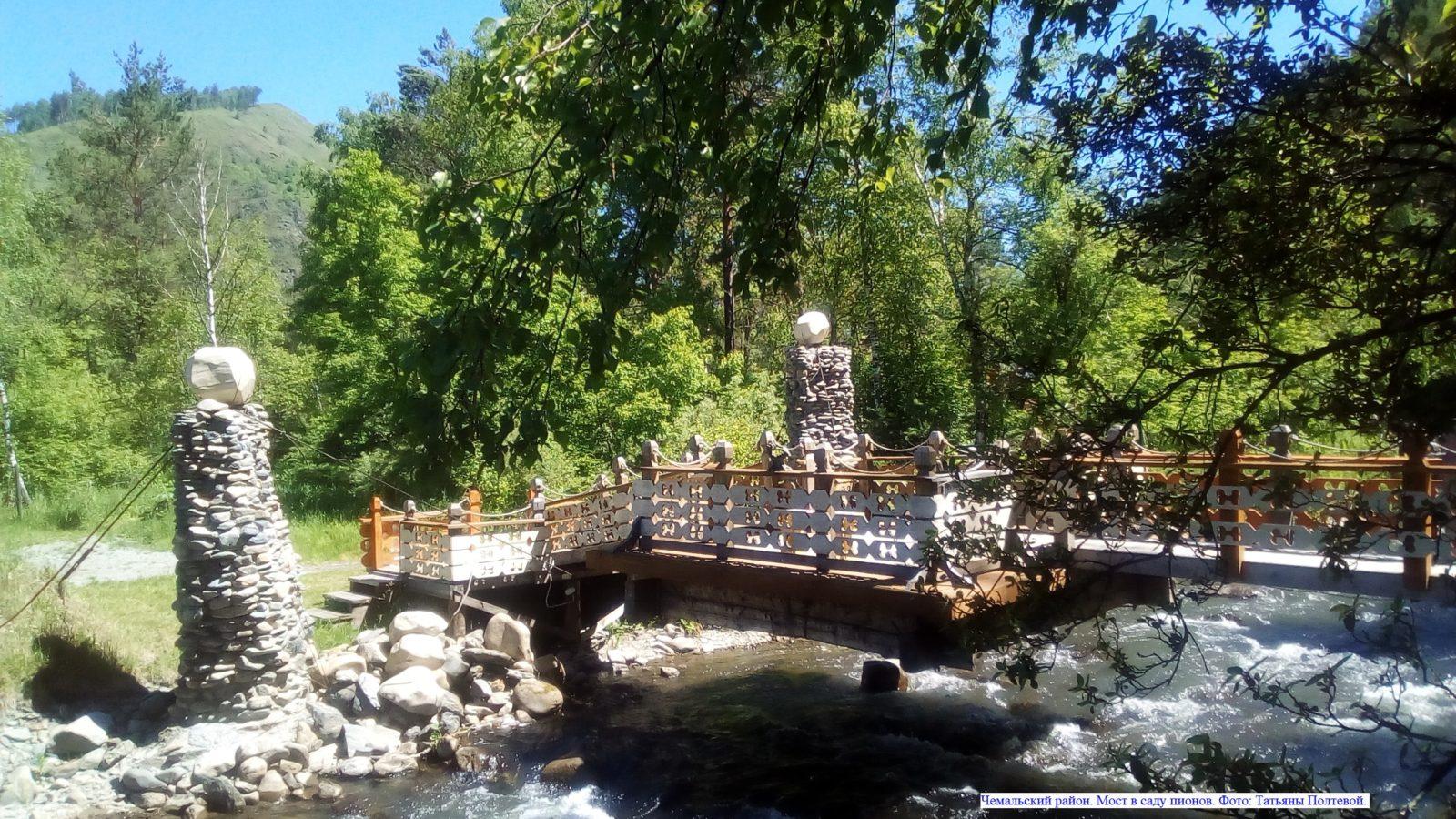 Чемальский район. Мост в саду пионов.