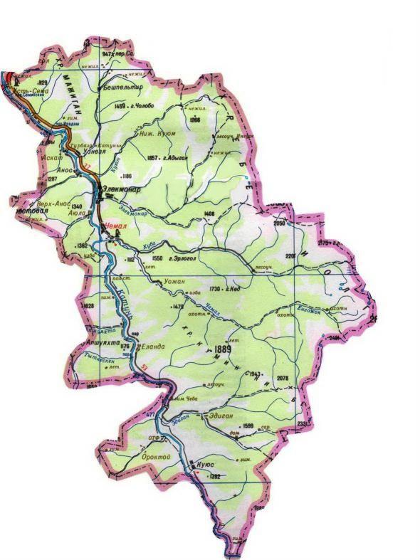 Карта Чемальского района Республики Алтай.