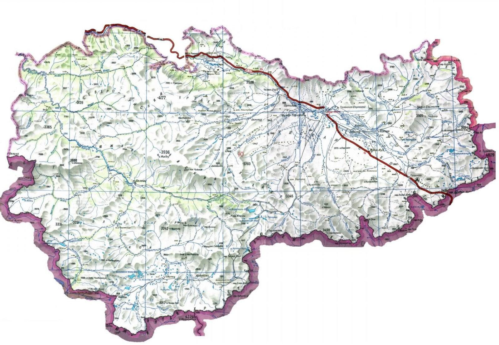 Карта Кош-Агачского района Республики Алтай. Источник: электронный ресурс: https://www.vtourisme.com/images/stories/my05/r4_koshagach.jpg Карта в свободном доступе, (дата обращения 13 сентября 2020 г.)
