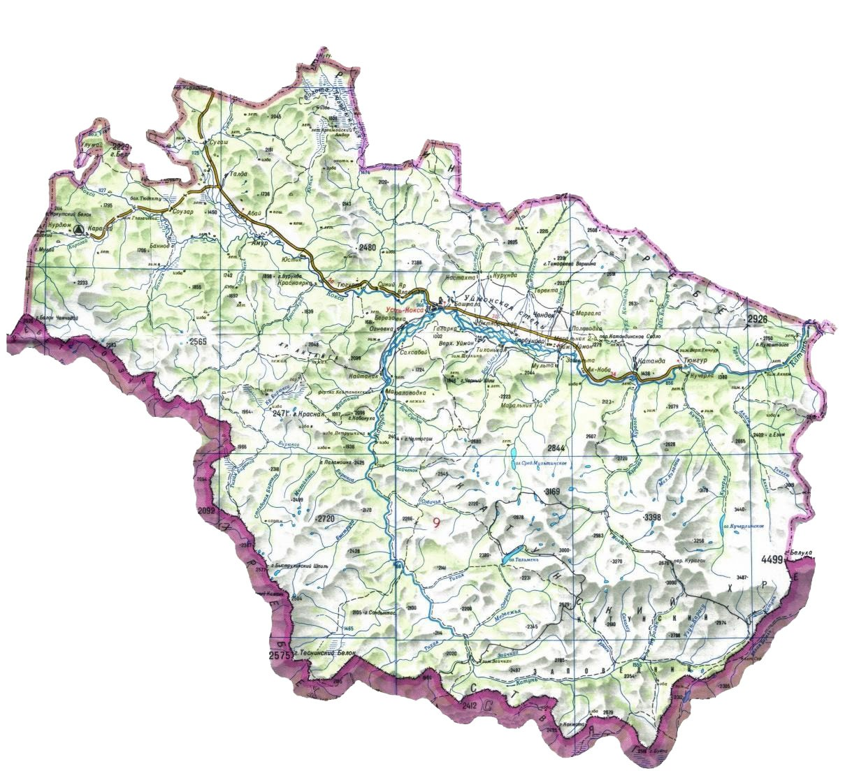 Карта Усть-Коксинского района Республики Алтай. Источник: электронный ресурс: https://www.vtourisme.com/images/stories/my05/r1_u-koksa.jpg Карта в свободном доступе, (дата обращения 27 сентября 2020 г.)