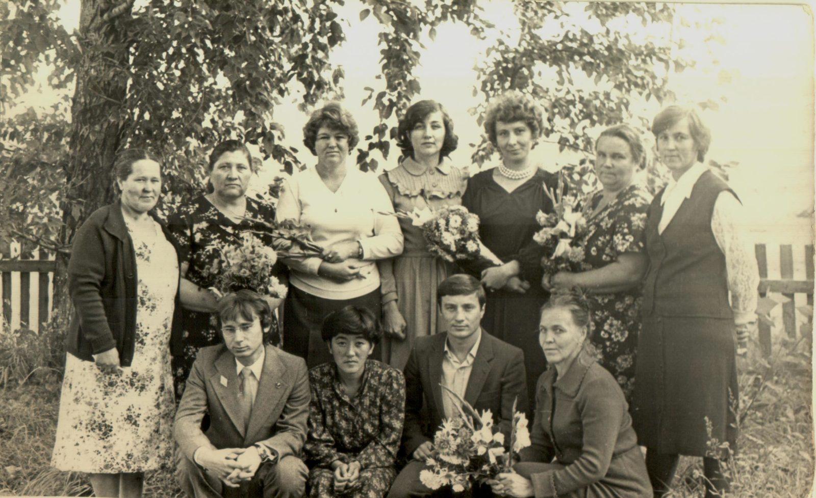 Коллектив учителей Глушинской восьмилетней школы. 31 августа 1982 г.