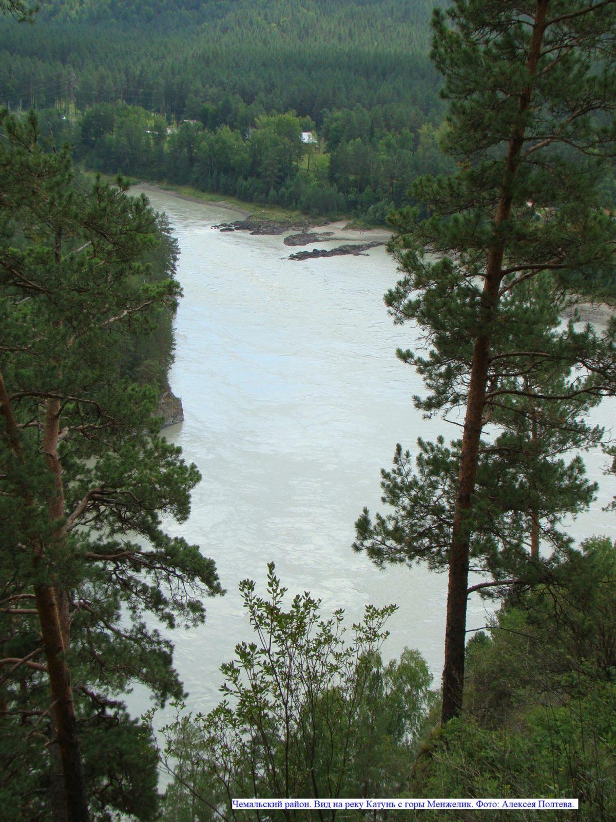 Чемальский район. Вид на реку Катунь с горы Менжелик.