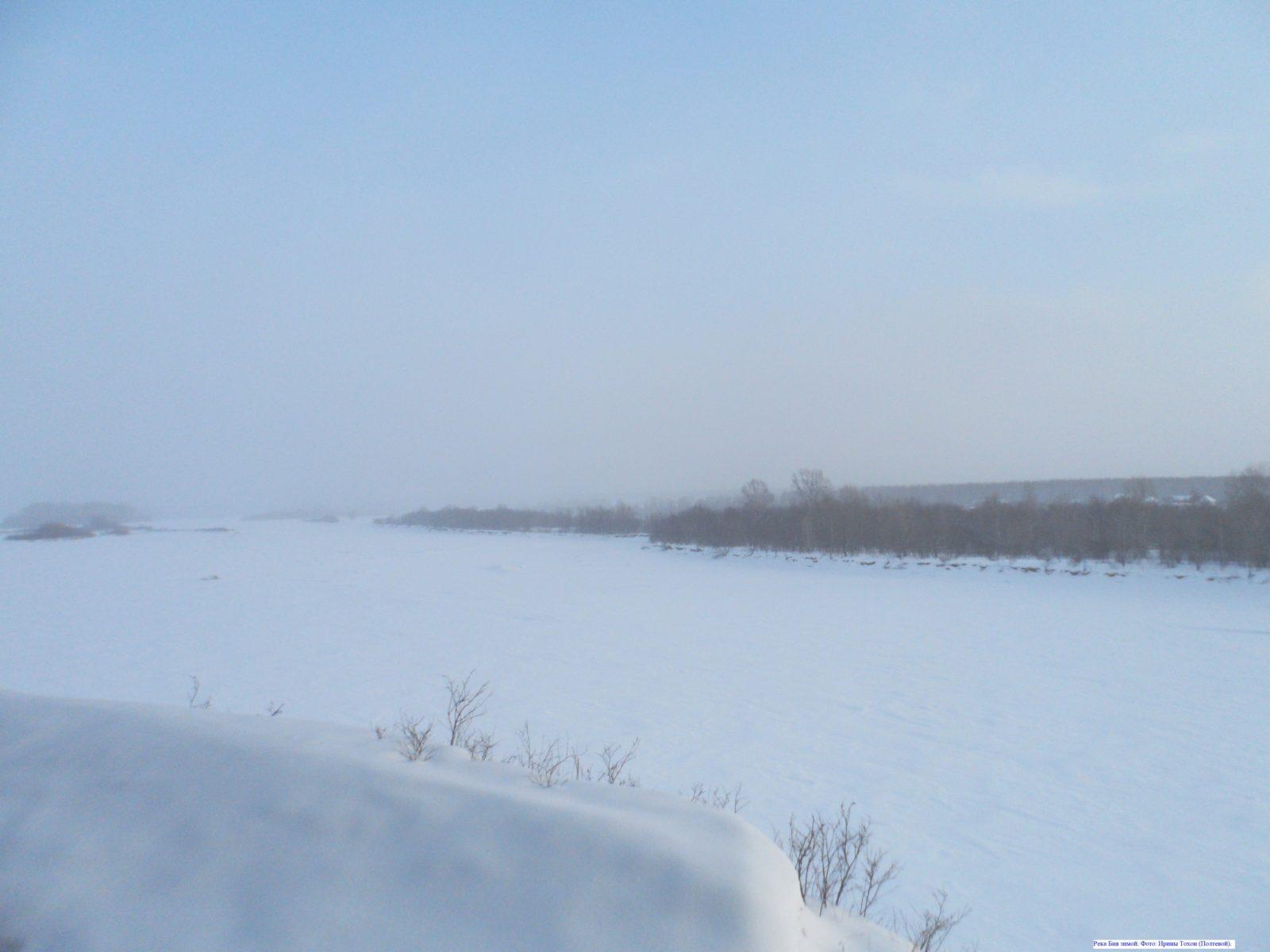 Река Бия зимой.